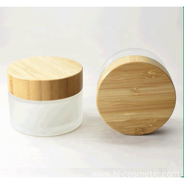 100g Environmental empty bamboo cosmetic lid frosted glass jars/cosmetic lotion bottles/cosmetic bottles and jars