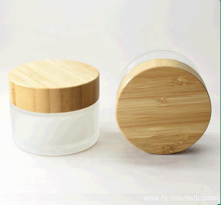 50g Environmental empty bamboo cosmetic lid frosted glass jars/cosmetic lotion bottles/cosmetic bottles and jars