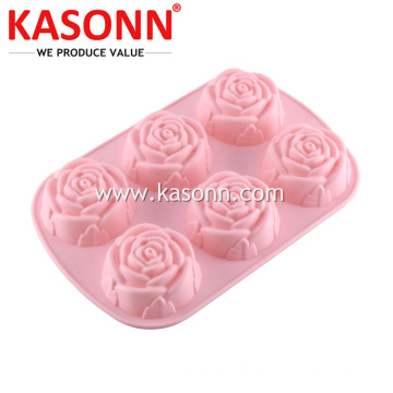 6 filiżanek Medium Rose Silicone Bread Muffin Pan