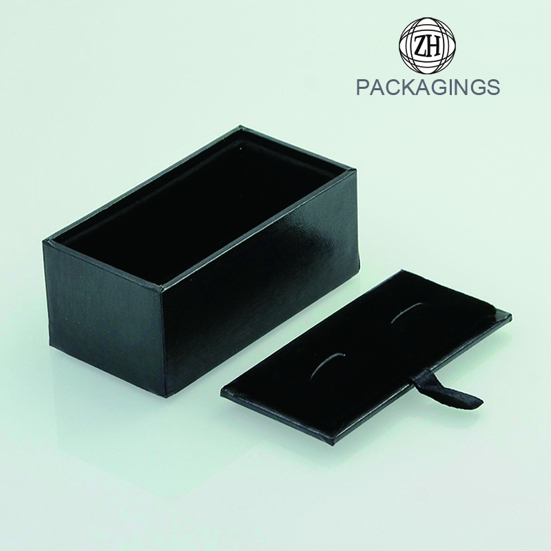 Custom black handmade cufflink box