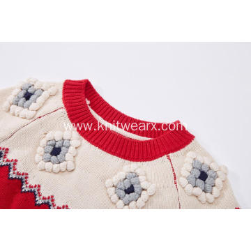 Girl's Knitted Hand Balls and Jacquard Pullover