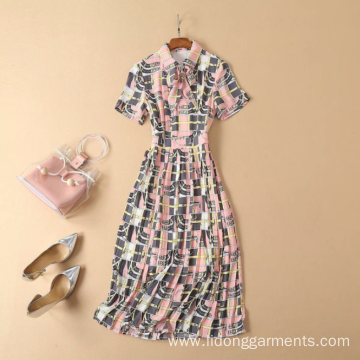 Short-Sleeved Printed Pleated Thin Medium-length Dress