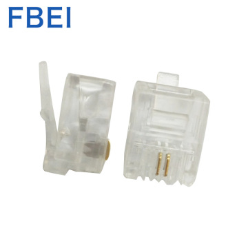 Gold plating 6P2c connector Telephone plug