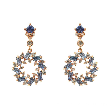 925 Sterling Silver Sapphire CZ Dangle Drop Earrings