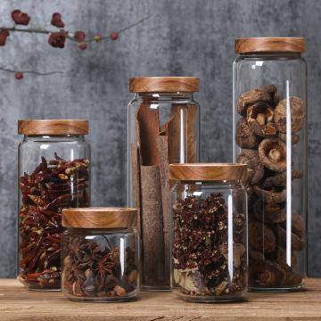 350/650/950ml/1250ml/1550ml Bamboo Lid Glass Airtight Canister Storage Bottles Jars Grains Tea Leaf Coffee Beans Candy Food Jar