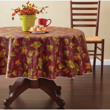 Tablecloth PE with Needle-punched Cotton Leaves Round