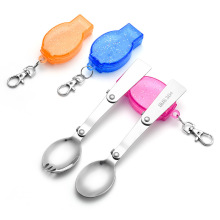 Hiking camping cutlery stainless steel folding spoon
