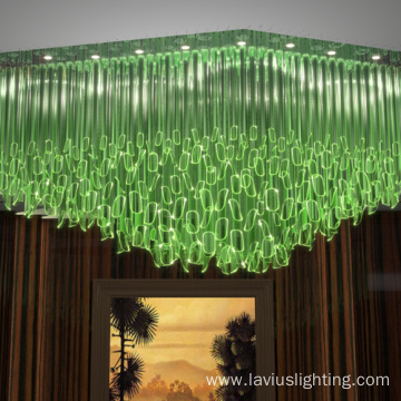 Big dining room bar luxury green glass chandelier