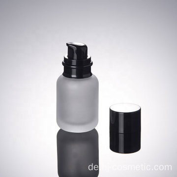 High-grade Cosmetic Frosted glass bottle with black caps, frosted glass bottles/jars