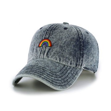 Fashion snow washing denim baseball cap