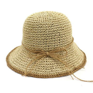 Foldable multicolor bowtie paper straw hat