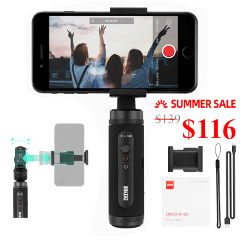 Zhiyun Smooth Q2 3-Axis Smartphone Handheld Gimbal Stabilizer for Smartphone iPhone 11 Pro Xs X 8 Plus Android Samsung S10
