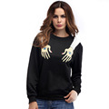 Women's Long Sleeves Hand Printed Pullover Black Sweatshirt