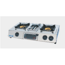 Double Burner Standing Gas Stove with Grill