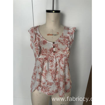 Floral vest with round neck