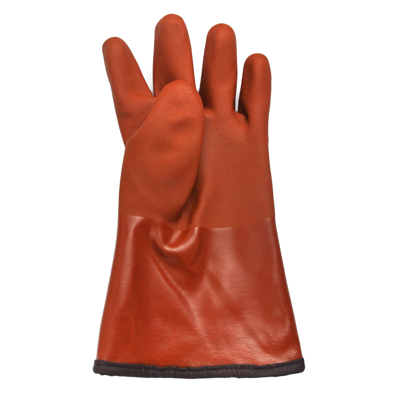 Brown PVC Coated gloves cashmere feecy linning