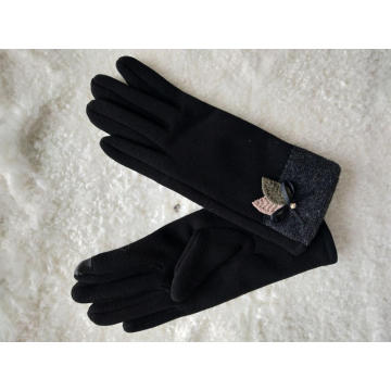 Classical winter sew fabric glove for women