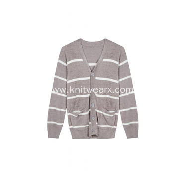 Men's Knitted Feather Yarn Pajamas Loungewear Cardigan