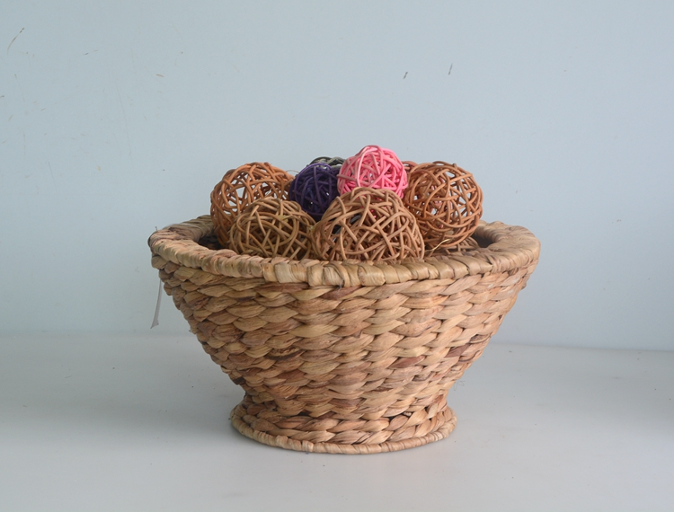 Round taper nature water hyacinth flower basket-1