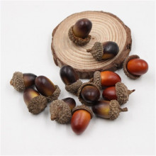 Cheap 1/10pcs 3cm Acorns Mini Artificial Fake Foam Fruits and Vegetables Berries Flowers For Wedding Christmas Tree Decoration
