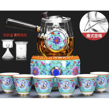 220V 1000w 600ml Thick High borosilicate glass Tea stove teapot Electric ceramic heaters tea set two filters 50ml 6cups