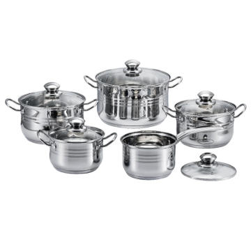 10 Pieces 3-Ply Base Belly Shape Cookware Set
