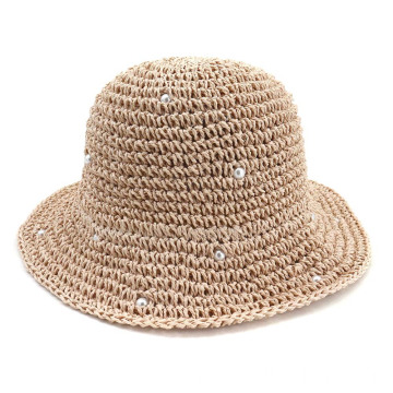 Short brim bucket fedora straw hat lady