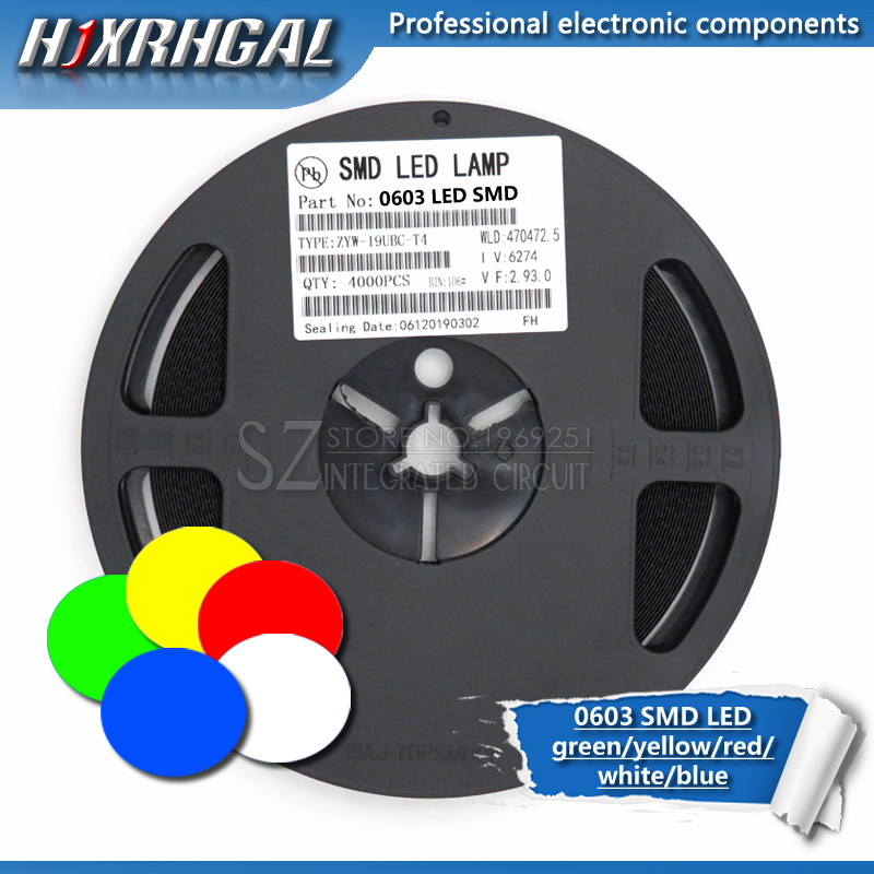 1Reel 4000pcs 0603 SMD LED diodes light yellow red green blue White new and original hjxrhgal