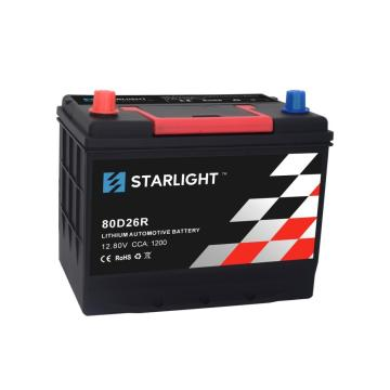 12.8V 80D26R Black LiFePO4 Lithium Car Battery