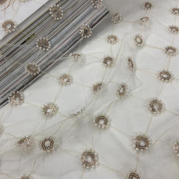 Elegant Bead Sequins Embroidery Fabric
