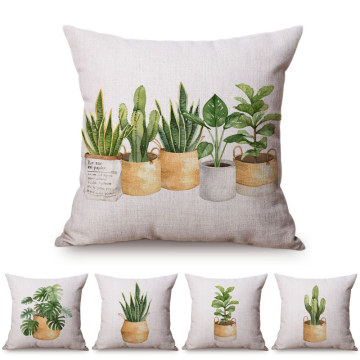 Green Plant Nordic Concise Small fresh Home Decorative Cushion Cover Cactus Aloe Potted Plant Office Sofa Throw Pillow Cover 18