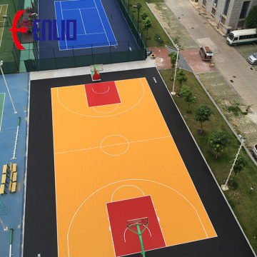 Suspended modular sports flooring tiles for backyard court