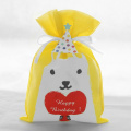 Yellow Non Woven Cute Dog Birthday Gift Bag