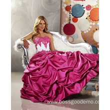 Ball Gown Sweetheart Strapless Satin Floor-length Beading Ruffled Wedding Dress