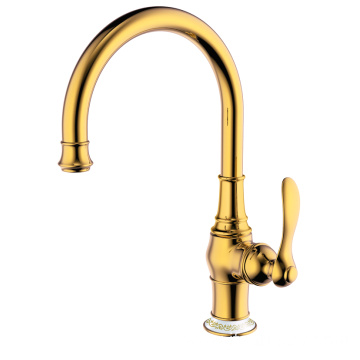 Copper single hole kitchen sink faucet gold