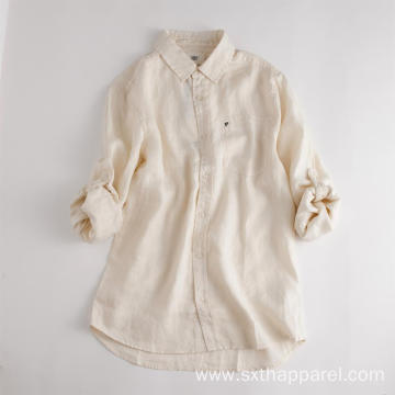 Women's Long Sleeve Top Blouse White Linen Shirt