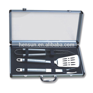 3pcs set BBQ tools in aluminum case