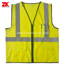 Hot sell Yellow Multi-functional pockets reflective clothes