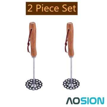 Set of Two Potato Masher with Wooden Handle