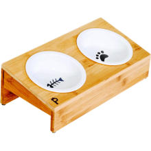 Elevated Bamboo Pet Table with Duo Bowls