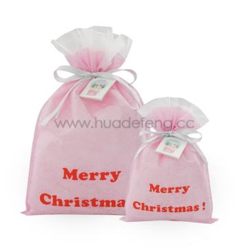 Pink Embossed Non-woven Christmas Gift Wrapping Bags
