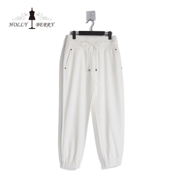 Breathable Elastic High Waist Rivet Loose Streetwear White Womens Sweatpants Fashionable