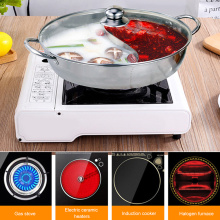 Stainless Steel Twin Divided Double Pot Hotpot Gas Stove Soup Cooking Pot for Home Kitchen Cookware Soup Cooking Pot