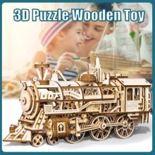 DIY Movable Locomotive by Clockwork 3D Wooden Model Building Kits Assembly Toys Gift for Children