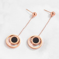 Minimalist Rose Gold Double Circle Dangle Earrings