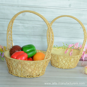 Round Plastic Weaving Flower Basket
