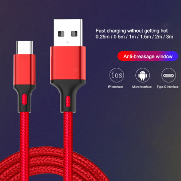 Nylon Braided Micro USB Cable 0.25m/1m/2m/3m Data Sync USB Charger Cable For Tablet USB Type C Android USB Phone Cables