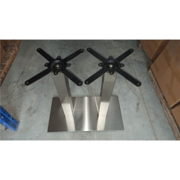 Modern brushed stainless steel metal table base
