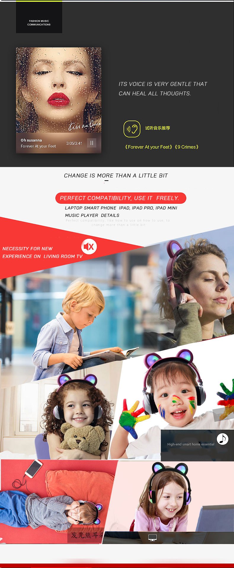 Christmas gifts bear ear lighting headphone for kids