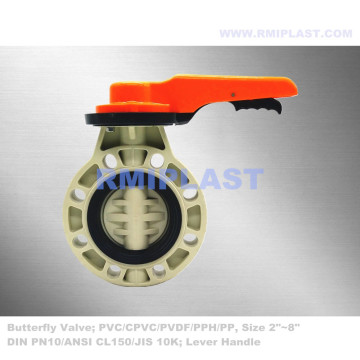 Lever handle Butterfly Valve PP JIS 10K